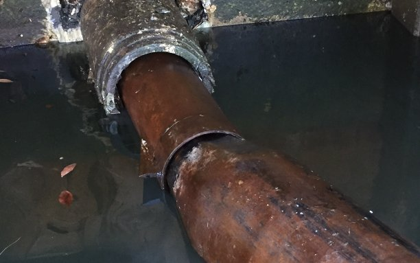 Broken pipe with water leaking